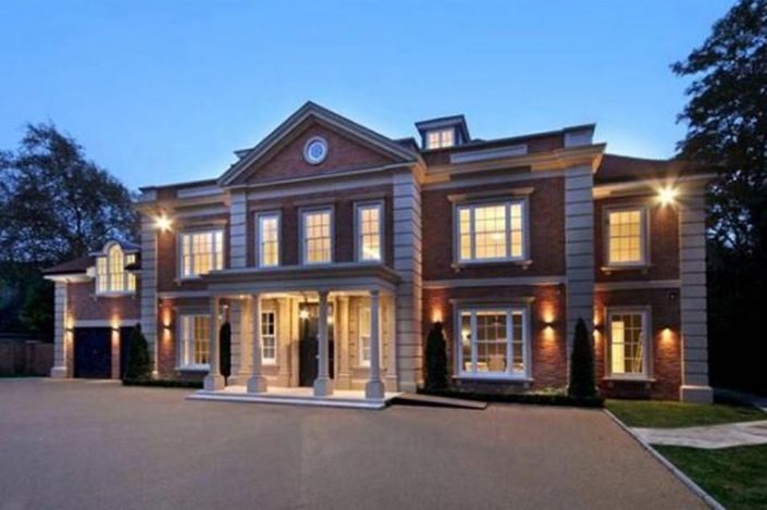 Large house from the outside with lighting