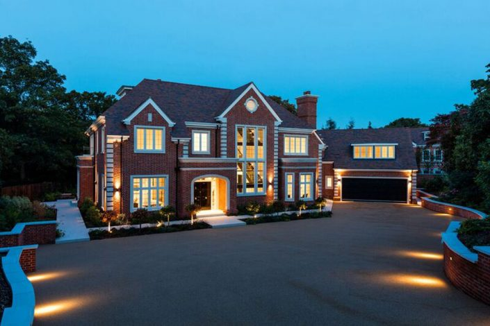 Large house from outside with lighting