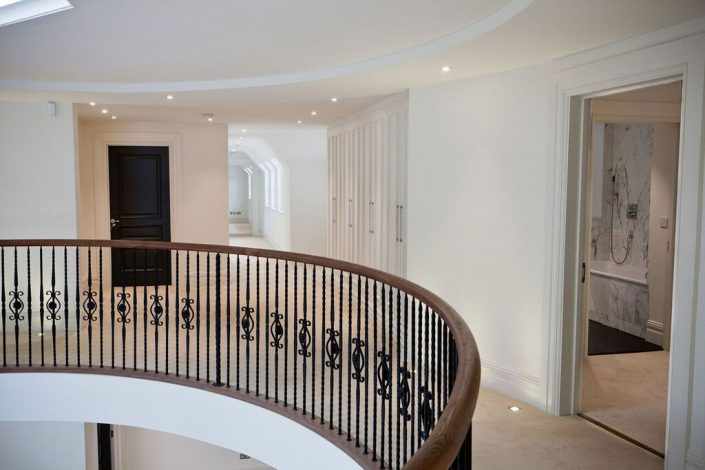 Large landing and stair railing