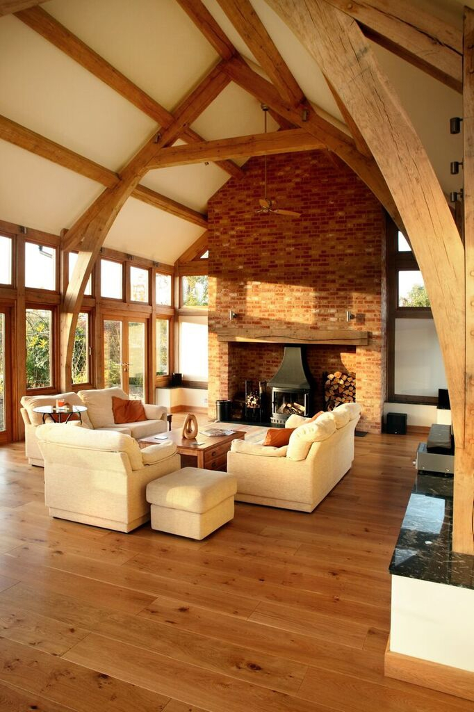 Wood framed room with fireplace