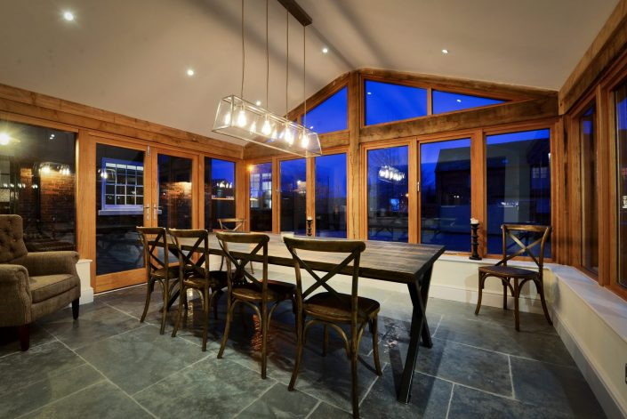 Dining table and downlights