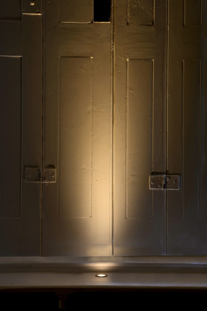 Window shutters with light in cill