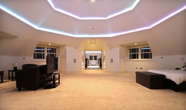 Master Bedroom with LED coffer ceiling