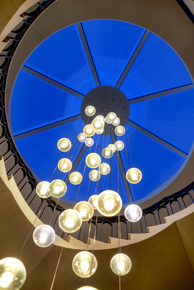 Rooflight with hanging lights